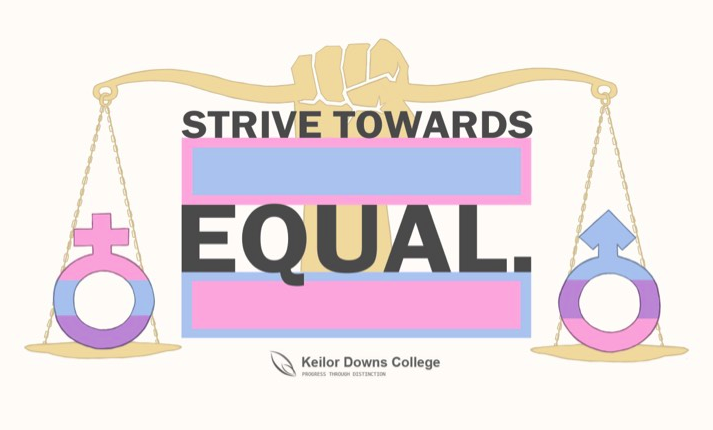Visual representation of scales with the text Strive Towards Equal